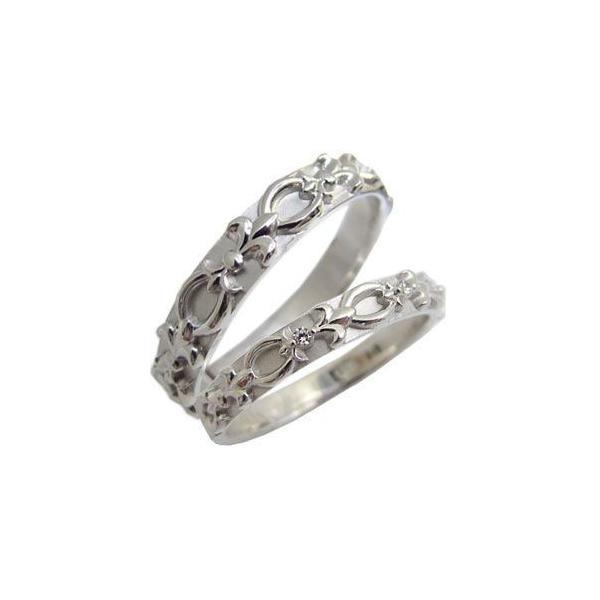 百合の紋章 天然ダイヤモンド マリッジリング シルバー925 結婚指輪 安い ペアリング