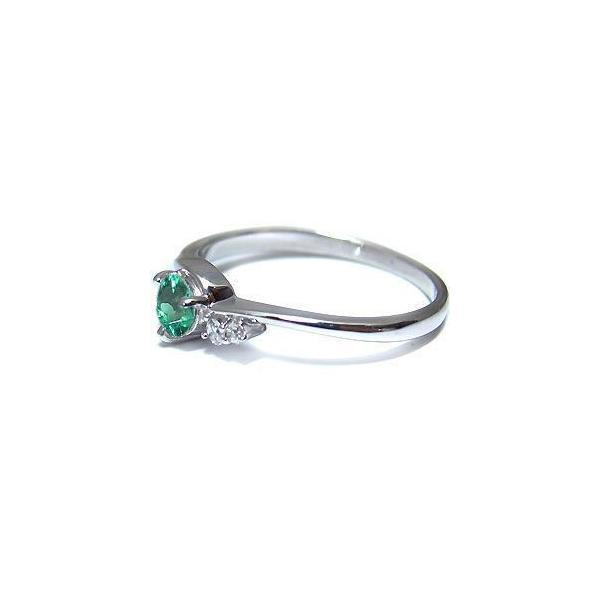 プラチナ エメラルド リング 一粒 エメラルドリング 指輪
