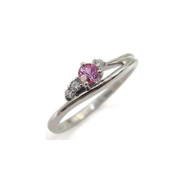 K10 ピンクサファイヤリング 一粒 シンプル 10金 ピンクサファイア 指輪