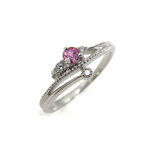 指輪 レディース ピンクサファイア リング 10金 一粒 ピンクサファイヤリング