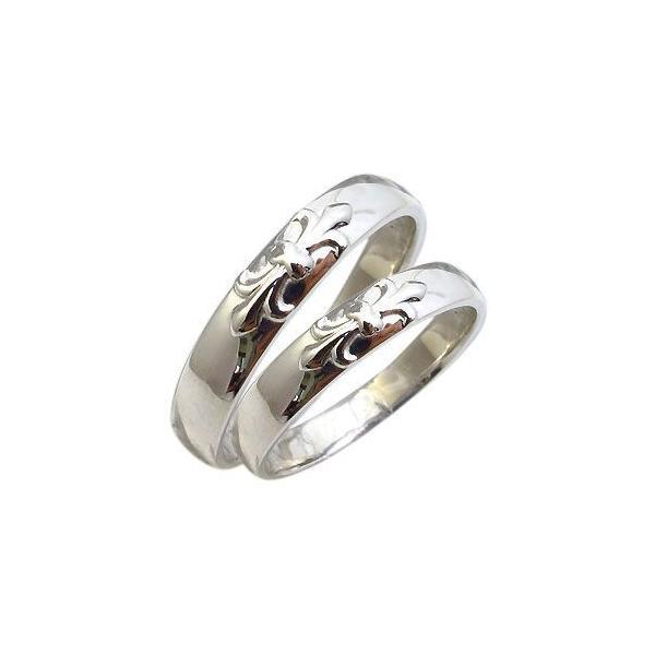 マリッジリング プラチナ リング 結婚指輪 百合の紋章 指輪