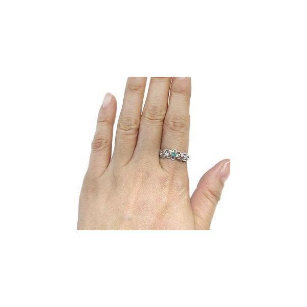 プラチナ リング 指輪 一粒 エメラルド リング