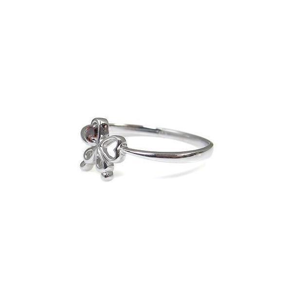 ガーネット リング リボン 10金 指輪 一粒 リング 蝶 ファランジリング