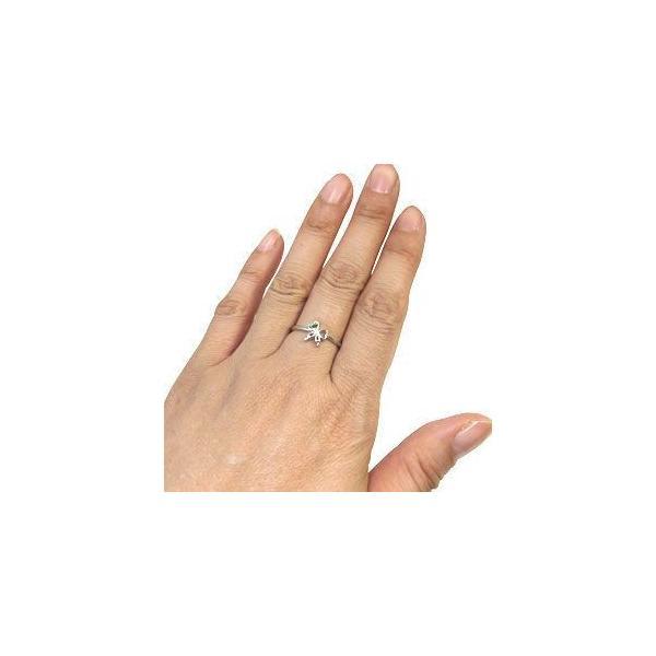 ペリドット リング リボン 10金 指輪 一粒 リング 蝶 ファランジリング