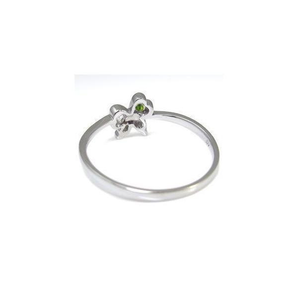 ペリドット リング 指輪 リボン ハート 一粒 プラチナ リング ファランジリング