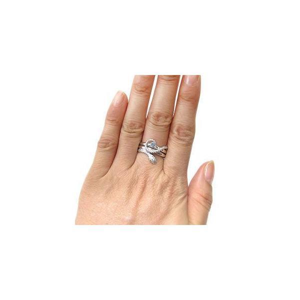 プラチナ アクアマリンサンタマリア ヘビ 指輪 蛇 リング