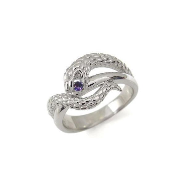 アメジスト プラチナ リング スネーク リング 蛇 指輪