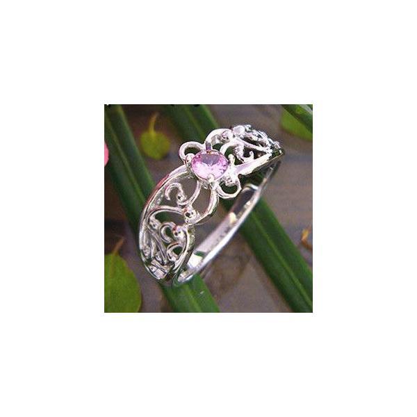 ピンクサファイヤリングK18WGクロス指輪