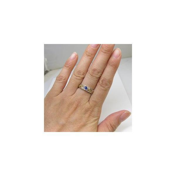 プラチナ 18金 コンビ リング 一粒 サファイア 指輪