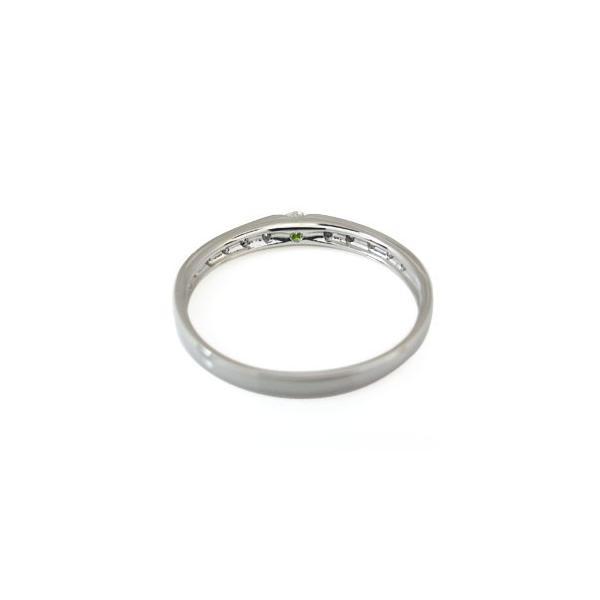 ハーフエタニティー リング プラチナ 一粒 ペリドット 指輪 ファランジリング