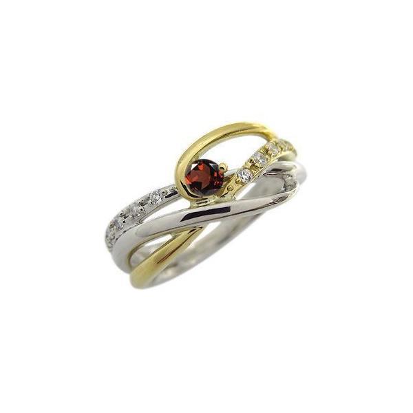 プラチナ 18金 コンビ リング 一粒 ガーネット 指輪