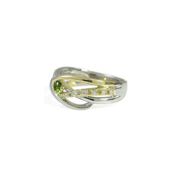 プラチナ 18金 コンビ リング 一粒 ペリドット 指輪