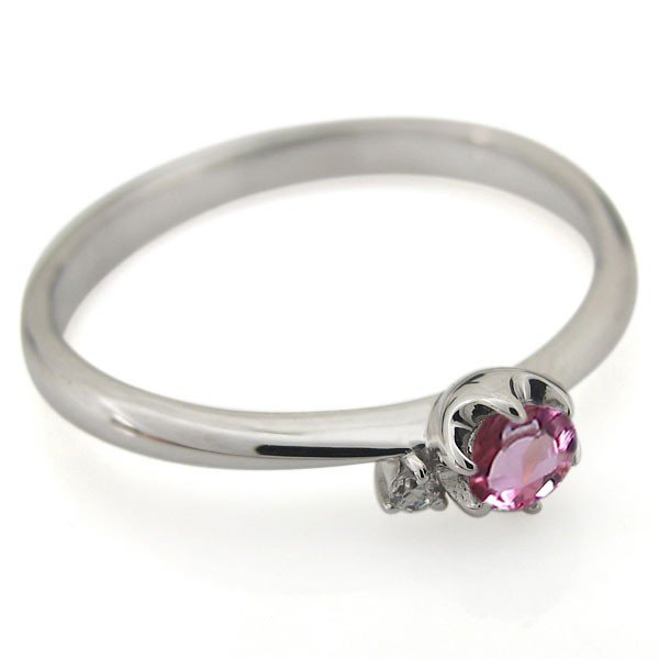 エンゲージリング ピンクトルマリン 婚約指輪 安い シンプル レディース