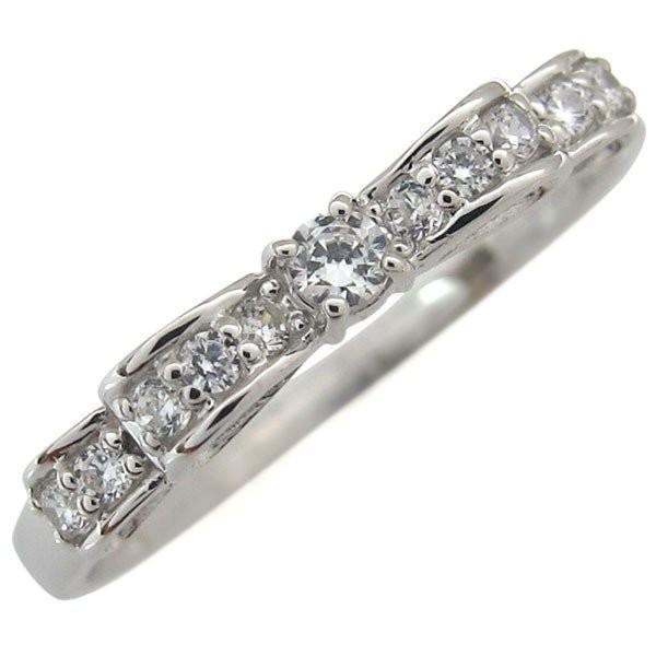 リボンリング ダイヤモンド リング K18 指輪 ピンキーリング ファランジリング 重ね付け xmas クリスマス