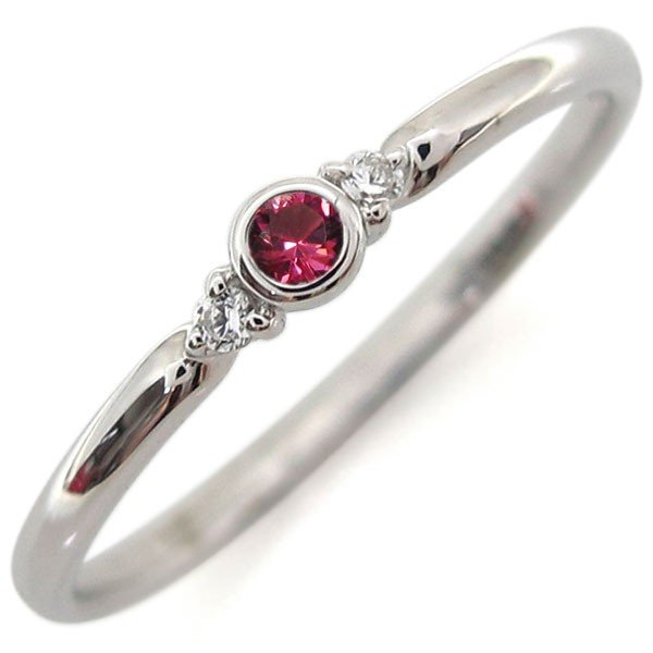 プラチナ ルビー リング ピンキーリング シンプル 指輪