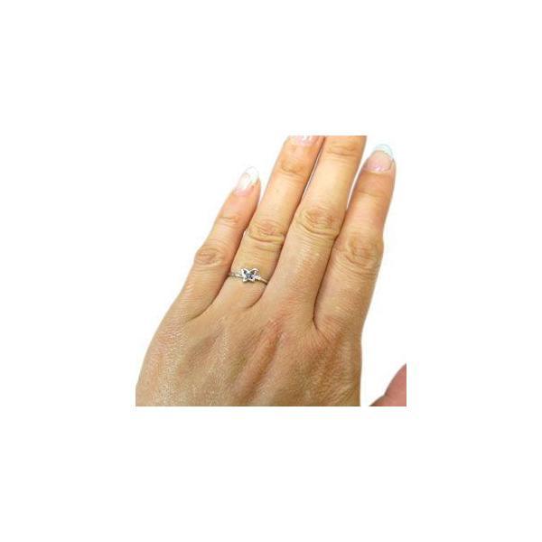 プラチナ  ピンキーリング アクアマリンサンタマリア 蝶 指輪 バタフライ リング ファランジリング