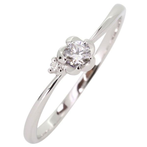 ファランジリング プラチナ 花 ダイヤモンド 指輪 フラワーリング