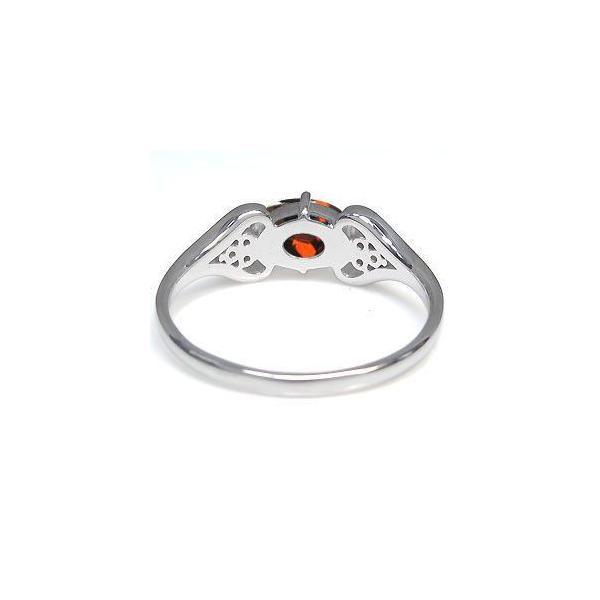 プラチナ オーバル ハート リング ガーネット 指輪 大粒