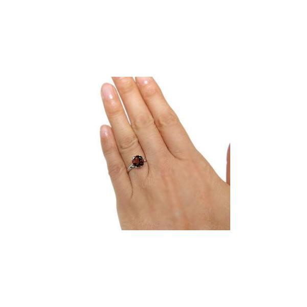 プラチナ 指輪 大粒 リング ガーネット 指輪 蔦