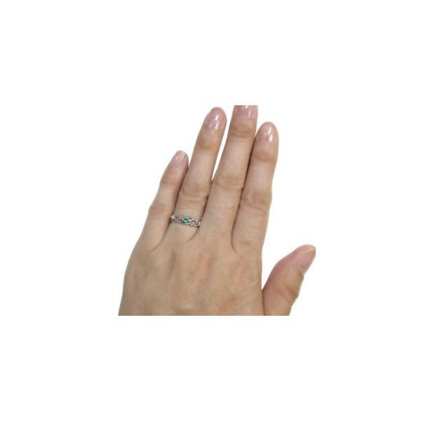 プラチナ リング 一粒 エメラルド リング 唐草 指輪