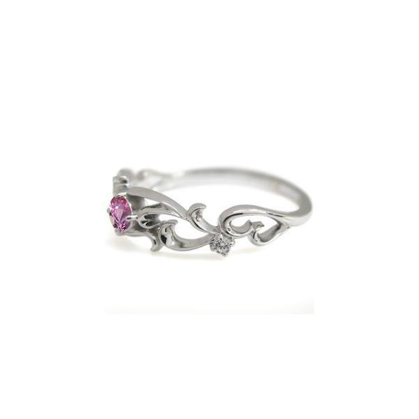 プラチナ リング 一粒 ピンクサファイア リング 唐草 指輪