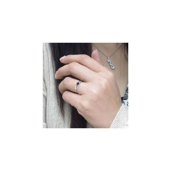 アメジスト 指輪 プラチナ リング 一粒 リング