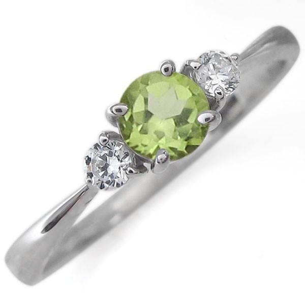 婚約指輪 安い プラチナ ペリドット シンプル エンゲージリング