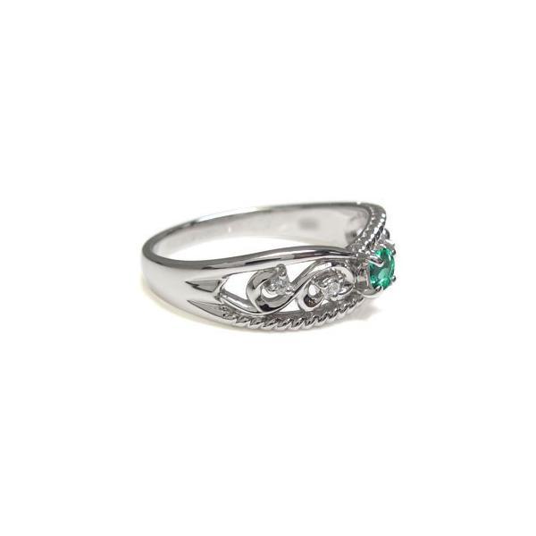エメラルド エンゲージリング 唐草 リング プラチナ 婚約指輪