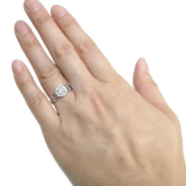 プラチナ 誕生石 アンティーク ゴージャス リング 取り巻き 指輪