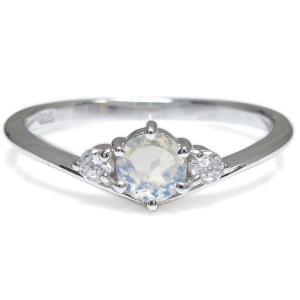プラチナ V字 婚約指輪 安い シンプル ロイヤルブルームーンストーン 一粒 エンゲージリング