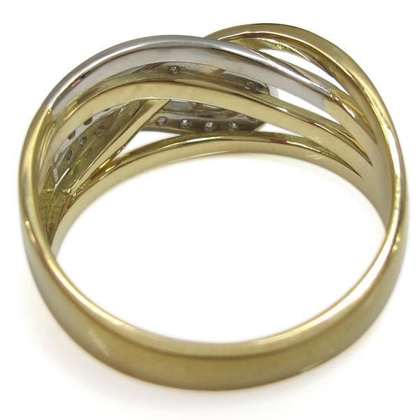 アクアマリンサンタマリア 指輪 18金 プラチナ コンビリング ラインリング