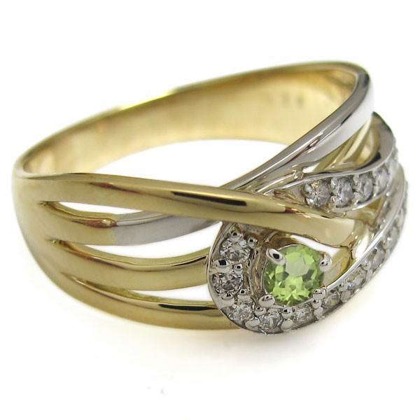 ペリドット 婚約指輪 18金 プラチナ コンビリング エンゲージリング