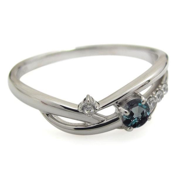 誕生石  シンプルリング プラチナ アレキサンドライト レディース 指輪