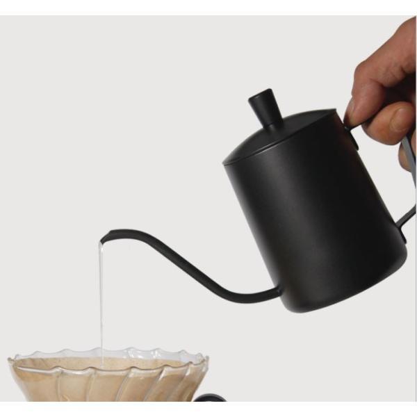 コーヒー ドリップポット (350ml)ステンレス ドリップケトル ハンドドリップ コーヒーポット ファイン口ポット ブラック plesant