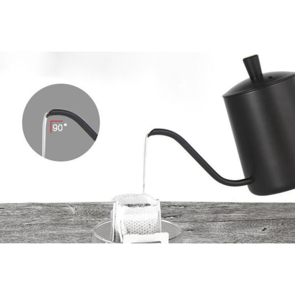 コーヒー ドリップポット (350ml)ステンレス ドリップケトル ハンドドリップ コーヒーポット ファイン口ポット ブラック plesant 02