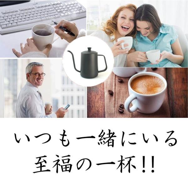 コーヒー ドリップポット (350ml)ステンレス ドリップケトル ハンドドリップ コーヒーポット ファイン口ポット ブラック plesant 06