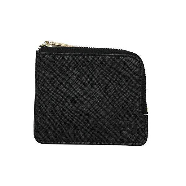 ミニ財布小銭入れコインケースコンパクト財布薄いL字ファスナーブラック