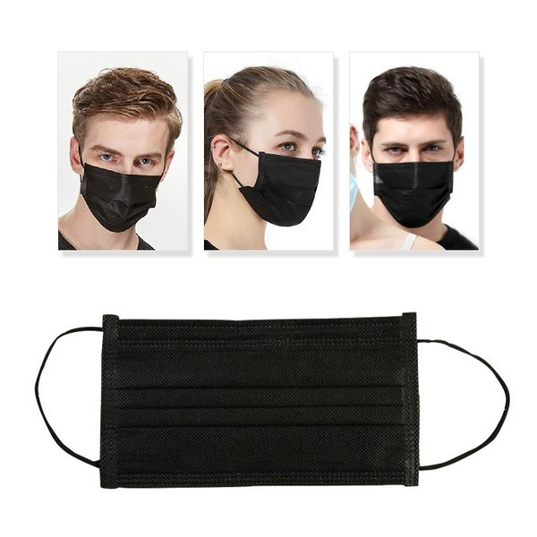 20枚入 黒 ブラック マスク 使い捨て ファッションマスク メンズ レディース ユニセックス 花粉症 対策 インフルエンザ 予防|plus-a|02