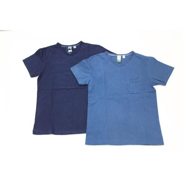 インディゴ染め 吊り編み天竺 VネックTシャツ バーンズ アウトフィッターズ(Barns outfitters) |plus-c