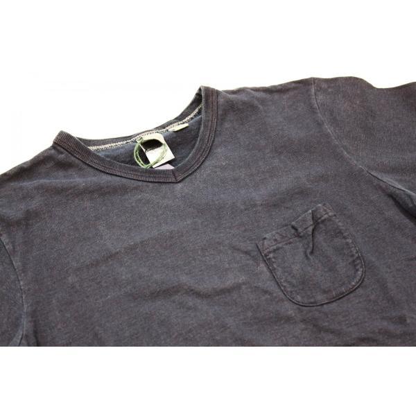 インディゴ染め 吊り編み天竺 VネックTシャツ バーンズ アウトフィッターズ(Barns outfitters) |plus-c|02
