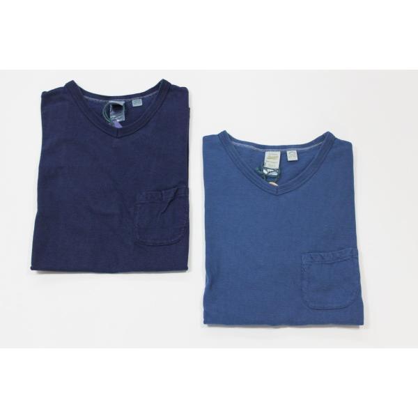 インディゴ染め 吊り編み天竺 VネックTシャツ バーンズ アウトフィッターズ(Barns outfitters) |plus-c|06