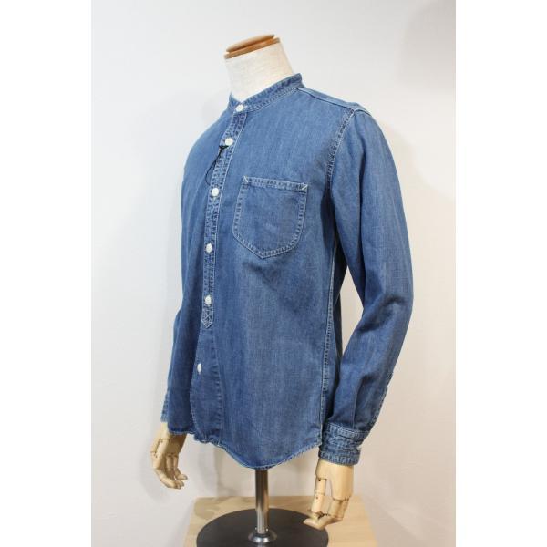 バーンズ barns outfitters ノーカラー デニムシャツ|plus-c|02