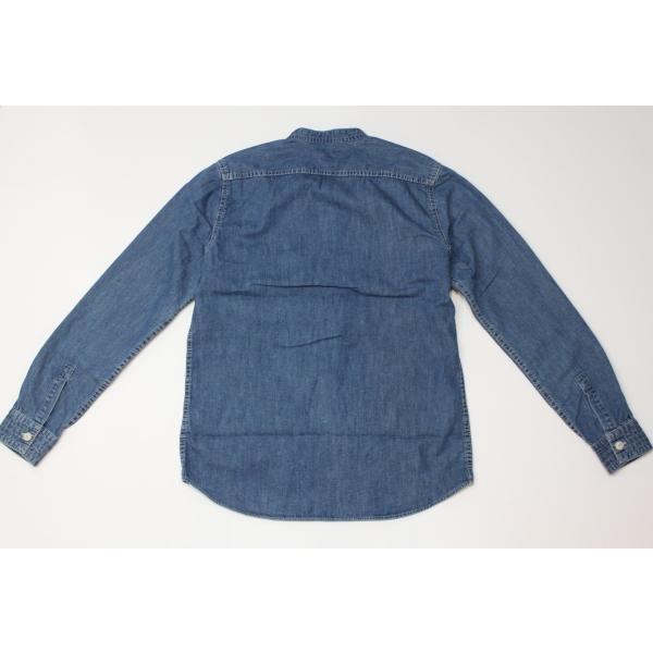 バーンズ barns outfitters ノーカラー デニムシャツ|plus-c|12