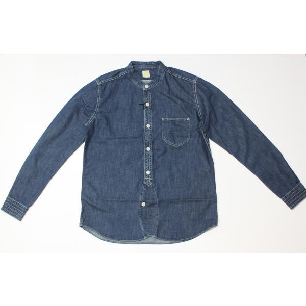 バーンズ barns outfitters ノーカラー デニムシャツ|plus-c|07