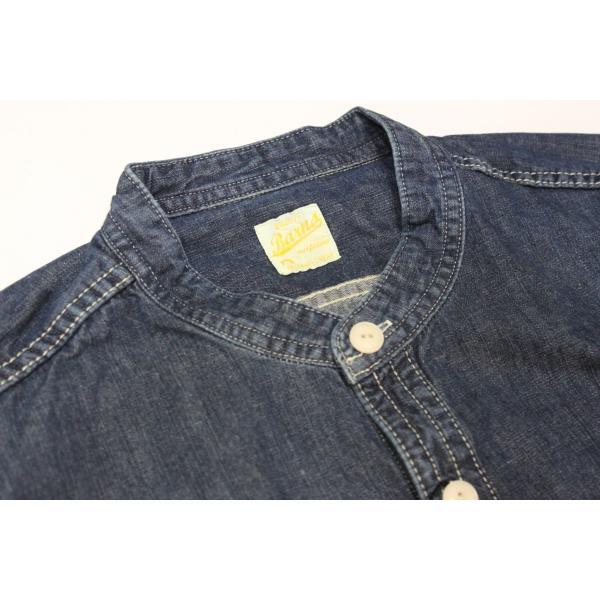 バーンズ barns outfitters ノーカラー デニムシャツ|plus-c|08