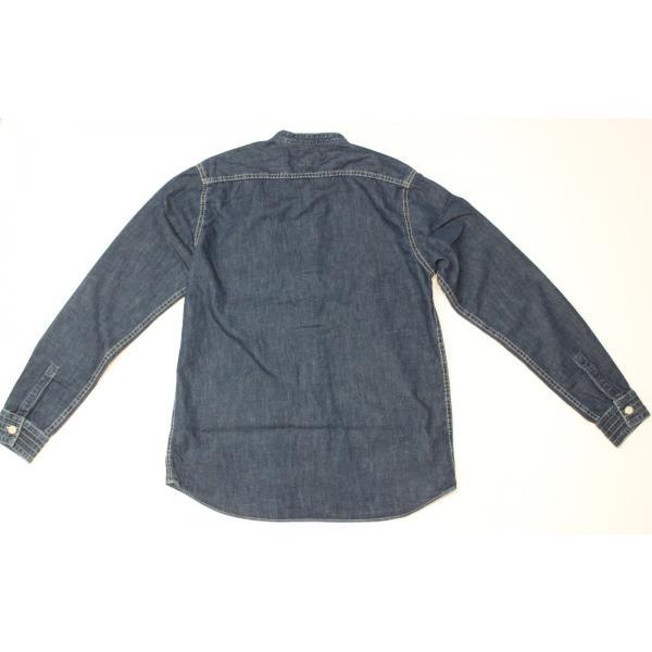 バーンズ barns outfitters ノーカラー デニムシャツ|plus-c|10