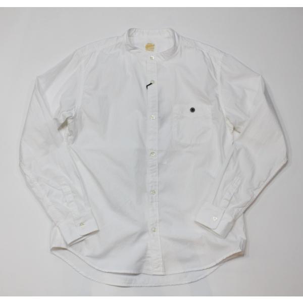 バーンズ barns outfitters   バンドカラーシャツ|plus-c