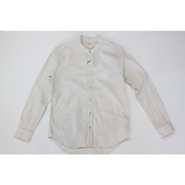 バーンズ barns outfitters ダンガリー バンドカラーシャツ|plus-c|02