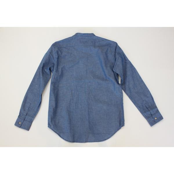 バーンズ barns outfitters ダンガリー バンドカラーシャツ|plus-c|03