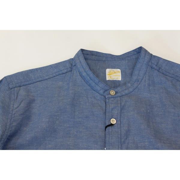 バーンズ barns outfitters ダンガリー バンドカラーシャツ|plus-c|04